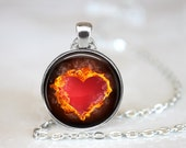 """Burning Love Changeable 1"""" Magnetic Pendant Necklace with Organza Bag"""