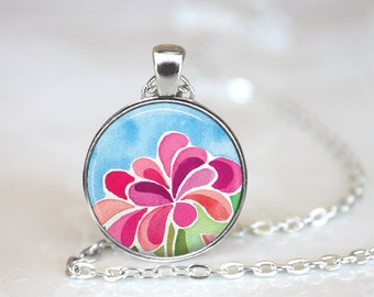 Watercolor Floral Changeable Magnetic Pendant Necklace with Organza Bag
