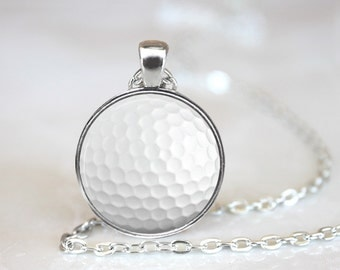 Ball marker necklace etsy golf ball magnetic pendant necklace with organza bag aloadofball Images