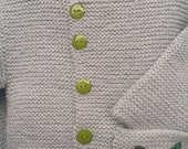 Garter Stitch Cardigan with pocket and Butterfly applique, size 6-8