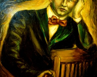 """The Great Houdini """"Believe""""   Oil Painting Portrait of Harry Houdini, Magician  Spiritualism"""