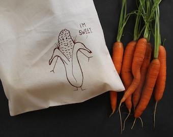 Reusable food bag sweet corn illustration drawstring produce sack funny food sketch