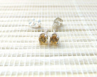 Citrine Stud Earrings Sterling Silver November Birthstone 3mm