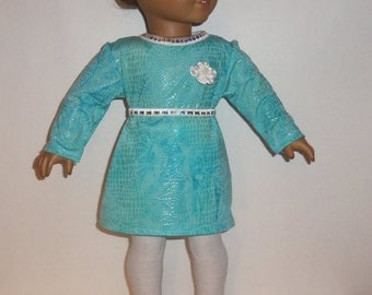 18 inch Doll Dress, Blue Pleather Look, Silver Shoes, Sparkling Belt, White Tights, Accessories, American Made, Girl Doll Clothes