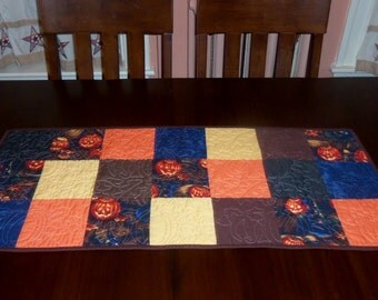 Handmade Autumn Quilted Table Runner,  Fall Table Topper, 16 x 37 inches, Sale Priced,  Unique Machine Quilting, Pumpkin, Witch Hat