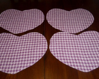 Handmade Quilted Placemats, Set of Four, 13x15 Inches, Heart Shaped, Valentine's Day,, Maroon Plaid,  Homespun, Machine Quilted