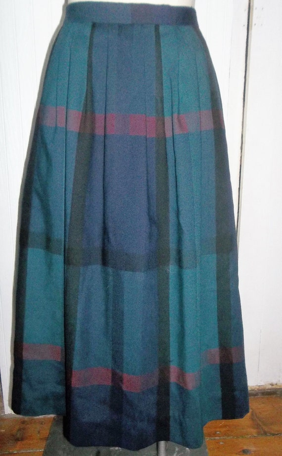 wool plaid vintage skirt blue green front pleats side by