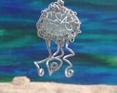 Small jellyfish necklace / ornament with English sea glass - unique teacher gift