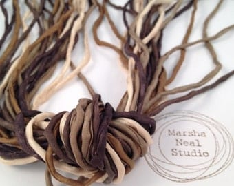 2mm Silk Ribbon Cord Craft Supplies in Brown Tan Earth Tones Hand Painted Silk Ribbons