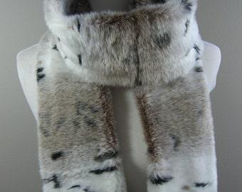 Faux Fur Extra Long Scarf, Snow Lynx Faux Fur Scarf, Women's Long Fur Scarf, Women's Winter Scarf
