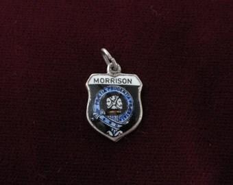 Morrison- Vintage Silver Plated Charm Travel Shield Enamel Silver Charm