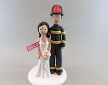 Custom Made Firefighter Wedding Cake Topper