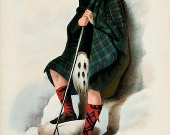 Clan Davidson Scottish Highlander ~ Traditional Tartan and Arms ~ ca 1845 -  Giclee print