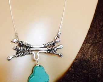 Turquoise Necklace  Sterling silver weaved hammered-Wild Branches-Handmade-metalsmith