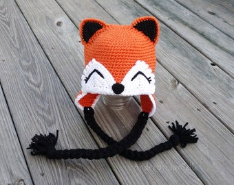 Crochet Fox Earflap Hat: Made to Order - Orange, Black, Coral, Brown, & White