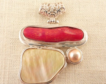 SALE ---- Vintage Pieces of the Sea Pendant with Shell, Coral Branch, and Pearl in Sterling Setting