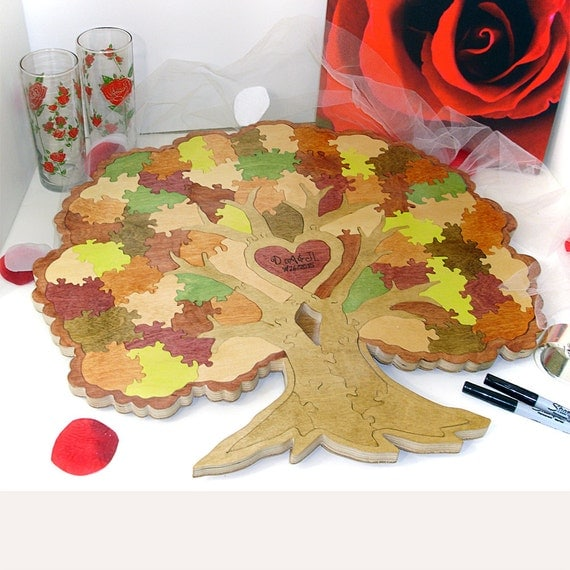 Wedding Tree Guest Book Puzzle With Frame For Hanging -  Personalized Custom Painted  Guest Book Alternative 20-120 Piece Puzzle