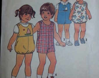 1976 Vintage Toddler Jumpsuit Shorts Pattern Size 1 Simplicity 7456 Simple To Sew Sailboat Applique