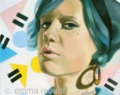 Print of original oil painting - Teen Spirit - pastel goth