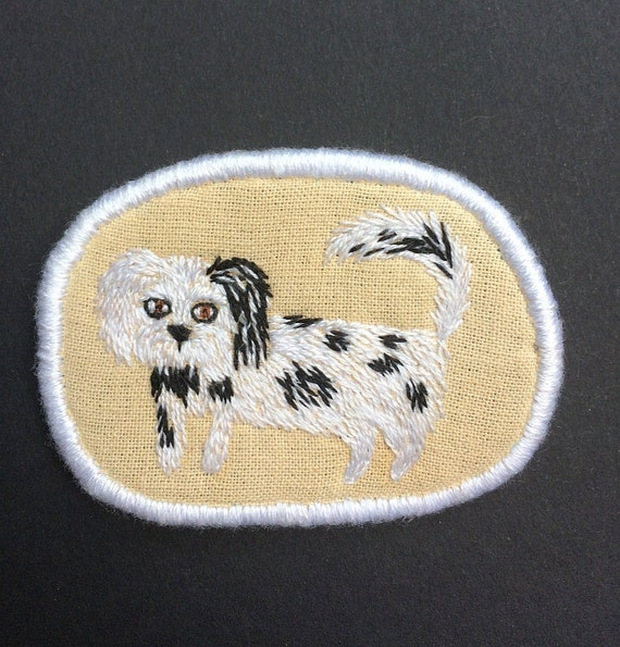 Textile Pet Portrait Brooch - Bourbon -  Funny Dogs collection, hand embroidered textile dog jewelry