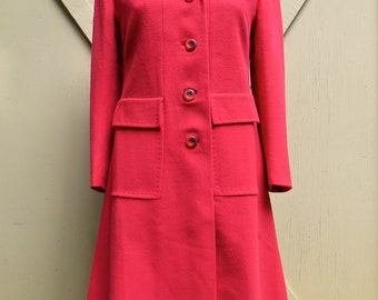 60s vintage Vermilion Red Cashmere Coat / Ultima Tailored by Mr. Vincent