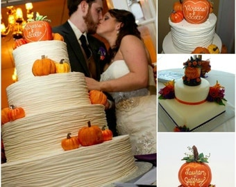 Pumpkin Wedding Cake Topper Keepsake - Plain or With Flowers