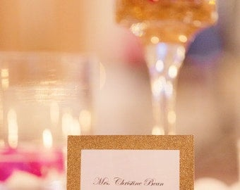 Gold Glitter Double Layer Tented Place Cards - 3 x 4""