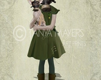 Grace - Steampunk Art Print - Soldier Girl & Chihuahua