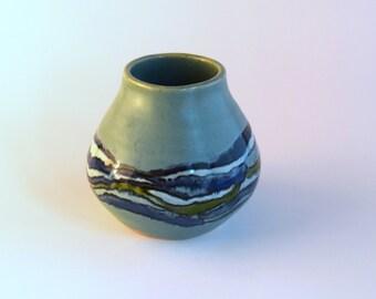Turquoise Vase - Coastal Decor - Beach Inspired - Utensil Holder - Shoreline Decoration - Stoneware Pottery - Seashore Art