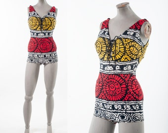Vintage 1960s Bathing Suit, Tiki Tribal Cole of California One Piece Suit, Metal Zipper, Women's Clothing, Swimwear