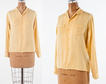 Vintage 1950s Gabardine Shirt: 40s 50s Yellow Long Sleeve Cotton Chin Loop Shirt, Mens Shirt, Women's Clothing, Tops & Tees, Blouses