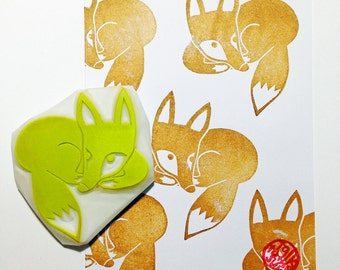 sleeping fox rubber stamp. fox cub hand carved rubber stamp. woodland animal stamp. diy birthday christmas thanksgiving. gift wrapping