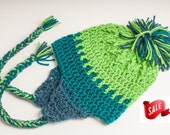 SALE Seahawks Earflap Hat, Spring Green, Teal, and Windsor Blue, Ready to Ship