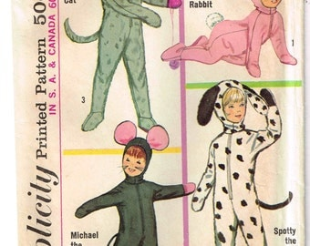 Child Size 4 Animal Costume Kitty Cat, Bunny Rabbit Mouse Dog Jumpsuit Halloween Sewing Pattern Simplicity 6199 Boys Girls Vintage 1960s