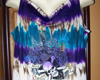 Plus Size Gothic Tank Top Tunic Skull Shirt Blue Purple White 1X Skull Shirt
