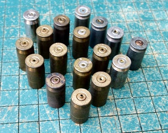 17 drilled brass Brass Bullet shell casings, 45 Auto, ACP,  spent ammo, steampunk, assemblage, found art jewelry
