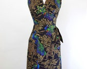 Peacock Paradise 50's Style Halter Sarong Dress