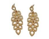 Gold Earrings, Leaf Earrings, Vintage Earrings, Long Modern, Dangle Earrings, Boho Bohemian, Evening, Gold Jewelry, Leaves, Statement