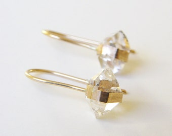 SALE Herkimer Diamond Hug Earrings Gold Filled