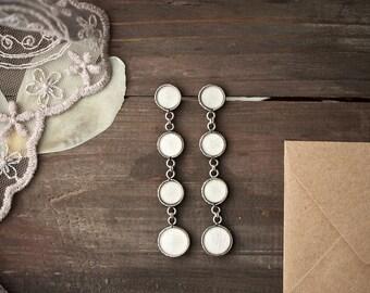 White dangle earrings - White tulip earrings - Long White Earrings - Flower jewelry - Bloom Collection by BeautySpot (E145)