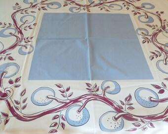 """vintage tablecloth, vintage table linen, cotton, white blue eggplant color, 54"""" x 49"""""""
