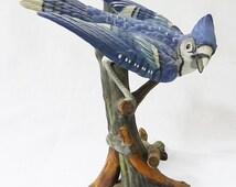 Vintage goto original japan porcelain bird figurine blue jay