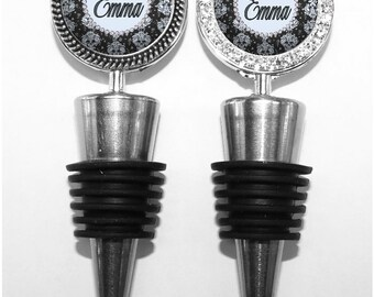 Wine Stopper - Personalized Name Damask Wine Accessory for Wine Drinker Bridesmaid Gift (A001)