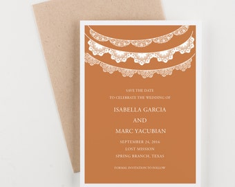 Papel Picado Save The Date, Spanish and Mexican Wedding