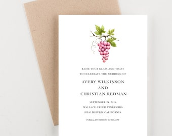 Vineyard Celebration Save The Date, Grapes and Winery, Wine Country, Bridal Shower, Wedding Invitation