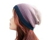 Lightweight Beanie Cotton Beanie Hat Women's Beanie Slouchy Beanie Women's Hat Knit Hat For Women Grunge Beanie Grey Old Rose Tan Ombre Hat