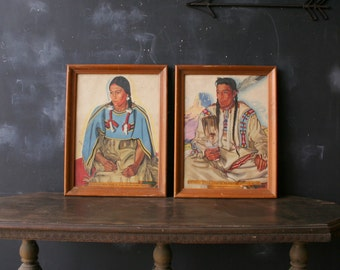 Vintage 50s Prints Framed Native American Woman From Nowvintage on Etsy