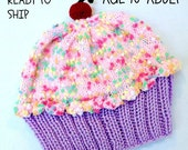 Cupcake Hat Adult Teen Child - Cherry on Top Lavender Grape Purple Cake Cotton Candy PInk Sprinkle Frosting Adult 10 11 12 13 14 15 16 years