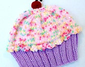 Cupcake Hat with Cherry on Top Lavender Purple Grape Frosting Cotton Candy Pink frosting with Sprinkles Adult Children Baby Toddler