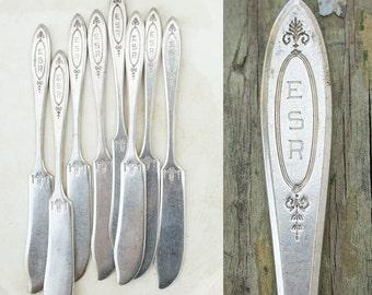 8 Antique Butter Knives / ESR Monogram / Community 1917 Adam Pattern / Monogrammed Set